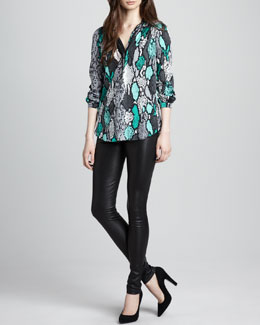 Milly Katalina Snake-Print Blouse & Leather Leggings