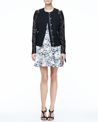Leather-Sleeve Twill Jacket & Printed Sheer-Inset Dress