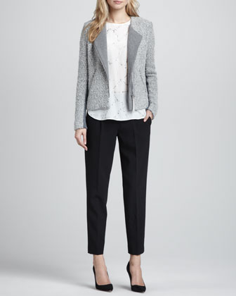 Knit/Tweed Zip Jacket, Bead-Embellished Silk Top & Straight-Leg Cropped Trousers
