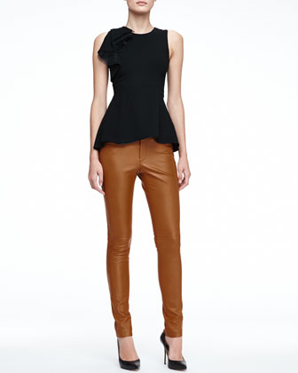 Sleeveless Peplum Top with Ruffle & Skinny Lambskin Leather Pants