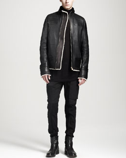 Rick Owens Shearling-Trimmed Leather Biker Jacket, Oversized Cashmere Turtleneck Sweater & Stretch-Cotton Bum-Flap Pants