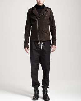 Rick Owens Suede Asymmetric Biker Jacket, Oversized Cashmere Turtleneck Sweater & Drawstring Drop-Crotch Pants
