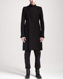 Rick Owens Double Breasted Sharp Coat, Oversized Cashmere Turtleneck Sweater & Drawstring Drop-Seat Pants