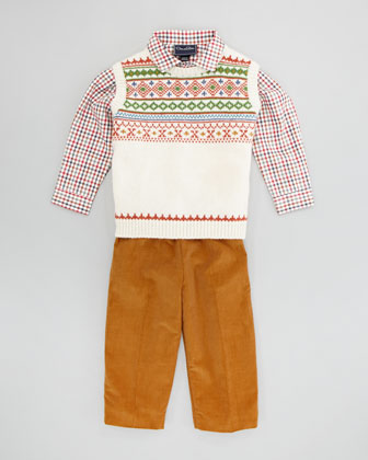 Boys' Fair Isle Lambswool Vest, Gingham Button-Down & Corduroy Pants