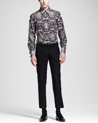 Lace-Skull-Print Dress Shirt & Wool/Mohair Trousers