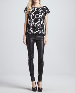 Alice + Olivia Connie Contrast-Lace Tee & Leather Leggings