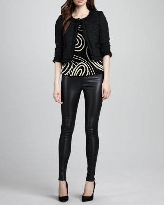 Kidman Tweed Fringe Jacket, Christina Pearly-Bead Top & Leather Leggings