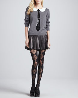 Alice + Olivia Delray Sequined-Tie Sweater & Box-Pleated Leather Skirt