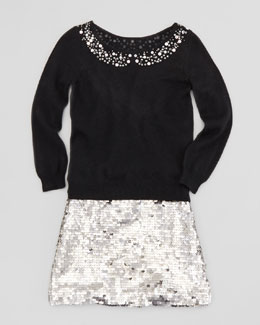 Milly Minis Rhinestone Collar Pullover Sweater & Sequin Miniskirt