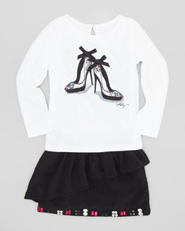 Milly Minis Stiletto-Print Long-Sleeve Tee & Cascade Ruffle Miniskirt