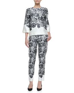 Dolce & Gabbana Lace-Print Duchesse Top and Pants