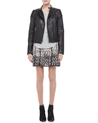 Karlie Ribbed Leather Jacket, Short-Sleeve Jersey Tee & Isa Printed Silk Skirt