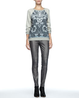 MARC by Marc Jacobs Lena Printed-Panel Sweatshirt & Seamed Denim Cigarette Pants