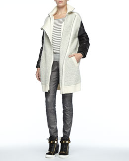 MARC by Marc Jacobs Nessie Leather-Sleeve Jacket, Jed Striped Knit Sweater & Seamed Denim Cigarette Pants