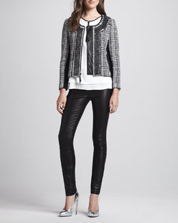 Milly Studded Leather-Trim Tweed Jacket, Front-Zip Silk Top & Monic Leather Skinny Pants
