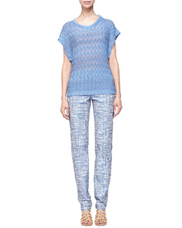 Missoni Leaf-Knit Short-Sleeve Sweater & Zigzag Jacquard Pants