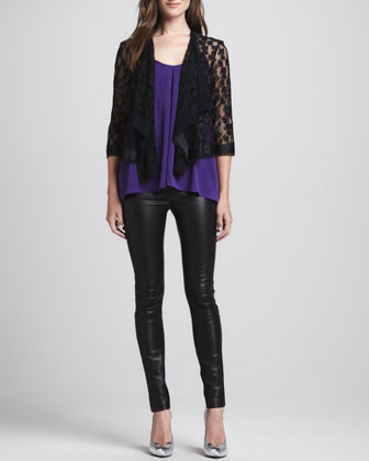Draped Open Lace Jacket, Pleated Sleeveless Silk Top & Monic Leather Skinny Pants