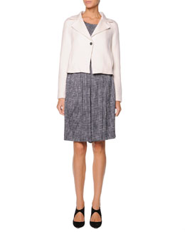 Giorgio Armani Single-Button Short Jacket, Sleeveless Printed Top & Printed Pleated Skort