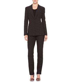 Giorgio Armani Dotted-Jacquard Single-Button Blazer & Straight-Leg Pants