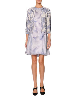 Giorgio Armani Printed Pleated Leather Jacket & Printed Paneled Swing Dress