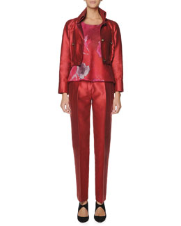 Giorgio Armani Cropped Blouson Jacket, Printed Net Bias Top & Tapered Mikado Pants
