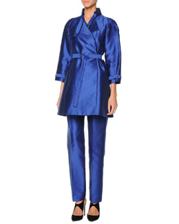 Giorgio Armani Silk Mikado Short Trench & Tapered Pants