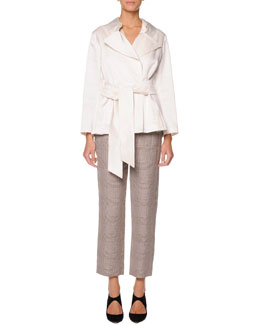 Giorgio Armani Belted Pleat-Back Jacket, Sleeveless Pleat-Front Top & Full Check Ankle Pants