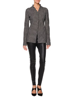 Giorgio Armani Jacquard Check Snap Jacket and Seamed Leather Zip Leggings