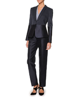 Giorgio Armani Single-Button Combo Blazer, Faux-Wrap Blouse & Tapered Mikado Pants