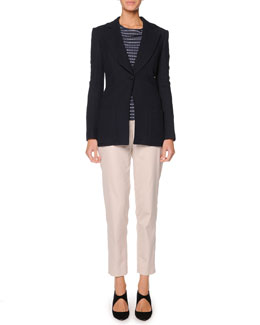 Giorgio Armani Single-Button Chevron Jacket, Textured Top & Washed Poplin Ankle Pants