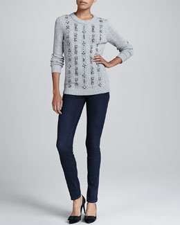 Tory Burch Etta Beaded Knit Sweater & Rinsed Denim Leggings