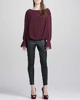 Elizabeth and James Genevive Boat-Neck Top & Addison Leather Leggings