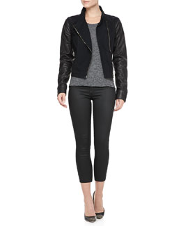 rag & bone/JEAN Canvas-Leather Moto Jacket and Cotswald Zip-Leg Capris