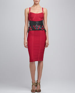 Herve Leger Thin-Strap Bandage Dress & Strappy Leather Harness Belt