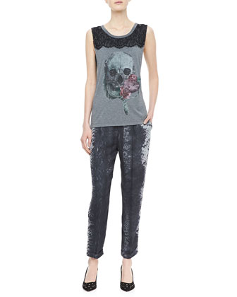 Lace-Panel Slub Tee & Snake-Print Trousers