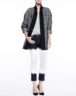 Etoile Isabel Marant Ebba Textured Coat, Flavien Striped Tank & Pradley Dip-Dye Jeans