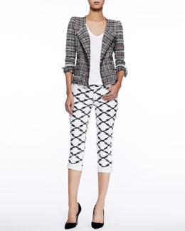 Etoile Isabel Marant Gaylord Tweed Jacket, Granger Linen Tee & Nessa Printed Cropped Jeans