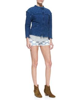 Etoile Isabel Marant Kandisa Quilted Denim Jacket, Flavien Striped Racerback Tank & Norina Printed Cutoff Shorts