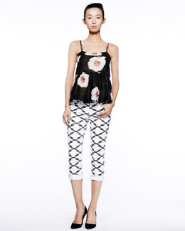 Isabel Marant Etoile Ridge Floral Cross-Back Tank & Nessa Printed Cropped Jeans