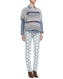 Isabel Marant Etoile Peyton Striped Fringe Poncho, Waller Denim Shirt & Nelly Printed Skinny Jeans