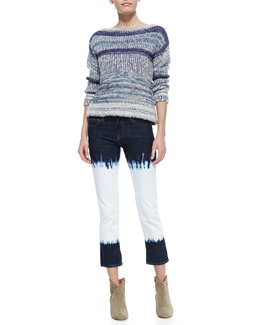 Isabel Marant Etoile Pit Striped Bateau Sweater and Pradley Dip-Dye Cropped Jeans