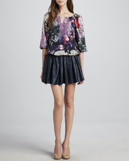 Alice + Olivia Tama Crystal-Print Blouse & Pleated Leather Skirt