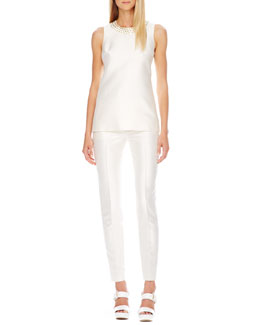 Michael Kors  Stud-Neck Shantung Top & Slim Shantung Pants