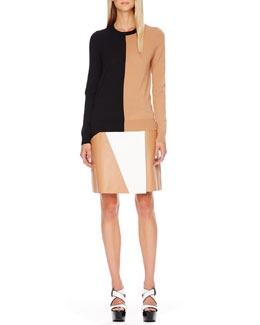Michael Kors  Colorblock Wool Sweater & Leather Skirt