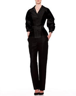 Carolina Herrera Silk Faille Balloon-Sleeve Blouse & Skinny Trouser Pants