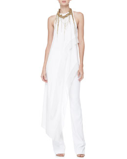 Donna Karan Asymmetric Tunic Top, Boot-Cut Pull-On Pants & Chain-Fringe Necklace