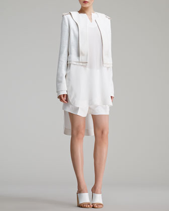 Shimmery Tweed Jacket, Long-Sleeve Silk Crepe de Chine Blouse & Light Cady Shorts