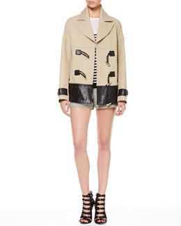 Jason Wu Cropped Leather-Trim Coat, Long-Sleeve Striped Shirt & Tweed Piped-Pocket Shorts