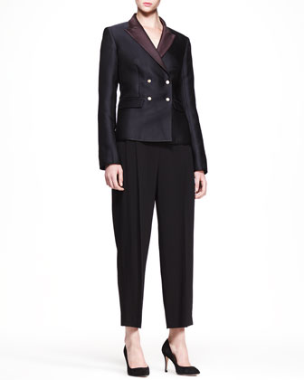 Double-Breasted Bicolor Blazer and Cropped Wide-Leg Pants