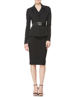 Donna Karan Knit Cardigan Jacket, Sleeveless V-Neck Drape Top, Wide Leather Snap Belt & Pull-On Knit Pencil Skirt